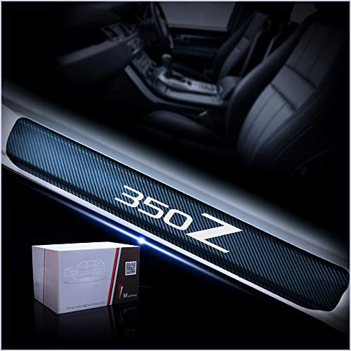 (for Nissan 350Z Carbon Fiber Door Sill Protector Anti-Kick Scratch Welcome Pedals Guards Threshold Sticker White 4Pcs)