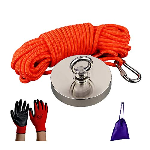 MUTUACTOR 1100lbs Pull-force Neodymium Fishing Magnet, Strong Retrival Magnet N52 with 49 Feet (15m) Durable Rope,Gloves and Portable Bag,Heavy Duty Magnetic salvaging Fishing Magnet for Treasure Hunt