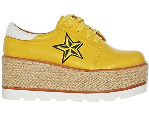 Shoes Yellow Lace Creeper up Women's Star Platform Oxford Awqn1x46X
