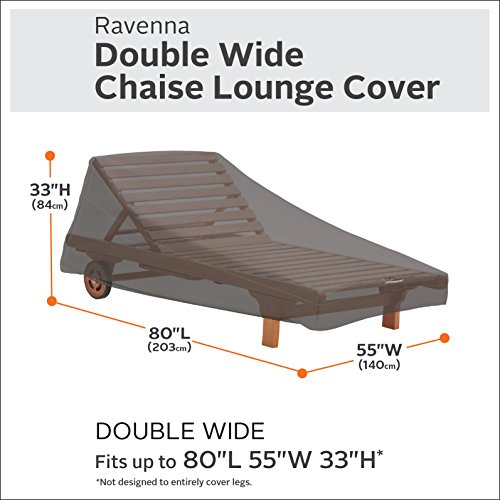 Classic Accessories Ravenna Double Wide Patio Chaise Lounge Cover - Premium Outdoor Furniture Cover with Durable and Water Resistant Fabric (55-454-015101-EC)