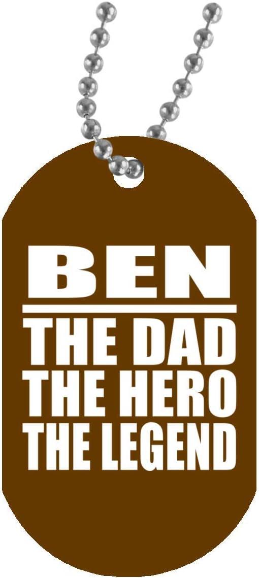 Ben The Dad The Hero The Legend - Military Dog Tag Brown Collar Colgante Militar Blanca - Regalo para Cumpleaños Aniversario el Día de la Madre o del Padre