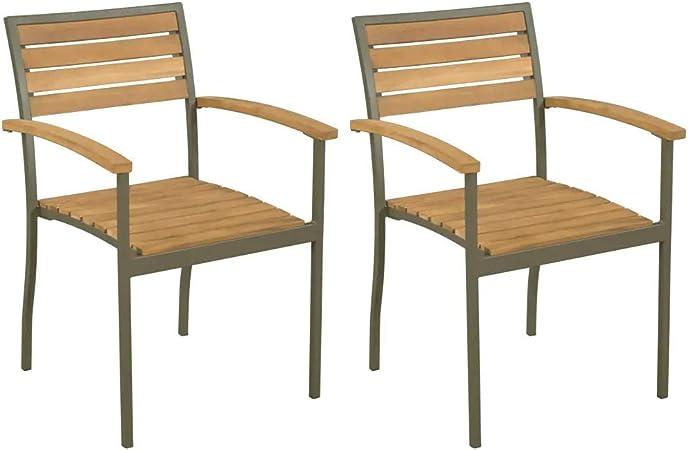 Set 2 sillas Rustica para Comedor y Jardín, Sillas de Madera de Acacia para Exterior 56 x 56 x 84 cm: Amazon.es: Hogar