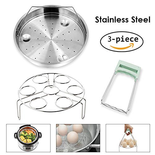 Steamer Basket Rack Set for Instant Pot Accessories - Fits Instant Pot 5, 6, 8qt Pressure Cooker with Foldable Bowl Plate Dish Clip Clamp, Stainless Steel 3 Packs