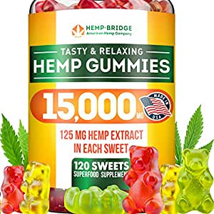 Premium Hemp Gummies - Safe and Natural - Made in USA - 15000MG Total,  125MG Each - Relaxing,