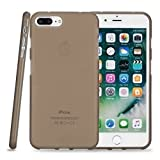 Kit Me Out CAN® Apple iPhone 7 Plus [Shock Absorbing] [Thin Fit] Premium Matte Finish TPU Gel Case Cover Skin Pouch - Smoke Black