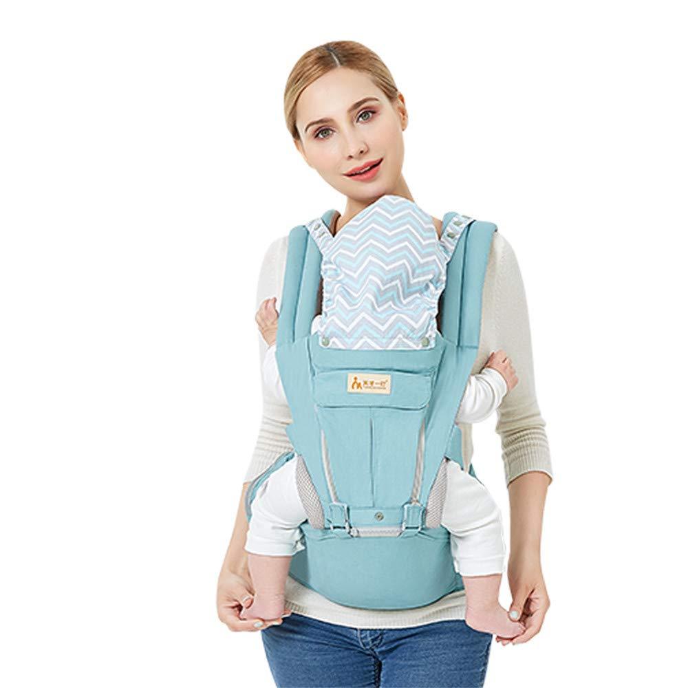 QSEFT 多機能アウトドアカンガルーベビーキャリアフードスリングバックパック 幼児ヒップシート 調節可能なラップ 0~36ヶ月の子供用 ブルー  ブルー B00SX0WN6I