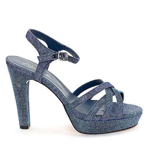 Cinturino con 11 Blue amp;Scarpe Effetto e Lurex cm Caviglia Alesya Alla Scarpe Sandali Alti Tacco con PwqnTgf8