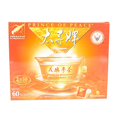 Prince of Peace American Wisconsin Ginseng Root Tea 2 boxes x 30 teabags each
