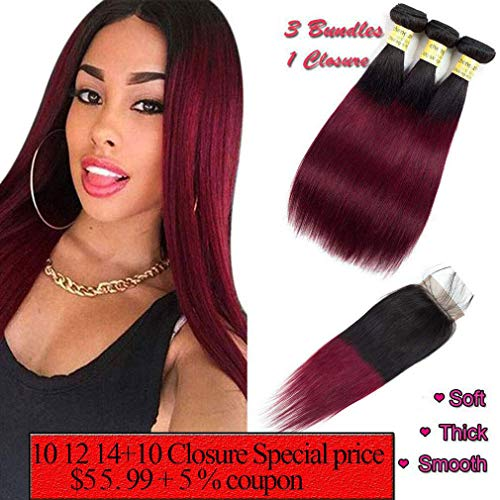 Ombre Hair 1B/99J Burgundy Straight Hair Bundles with 4x4 Lace Closure Human Brazilian Virgin Hair Sew in Hair Extensions (10