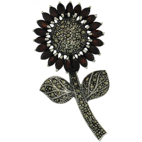 Sterling Silver Marcasite Large Sunflower Brooch Pin w/ Marquise Cut Garnet Stones, 2 7/16 in. (62mm) tall