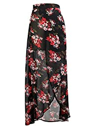 Yonala Womens Summer Boho Floral Tie Up Waist Maxi Skirt Wrap Beach Cover Up