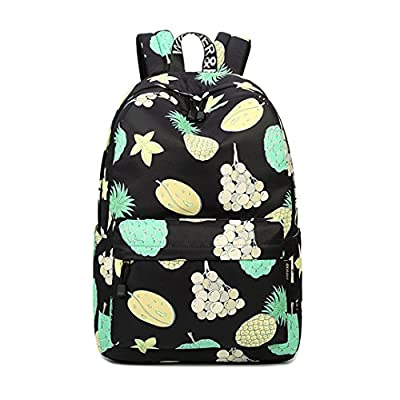 Pineapple Fruit Printing Women Black Backpack Large Capacity Grapes 80%OFF