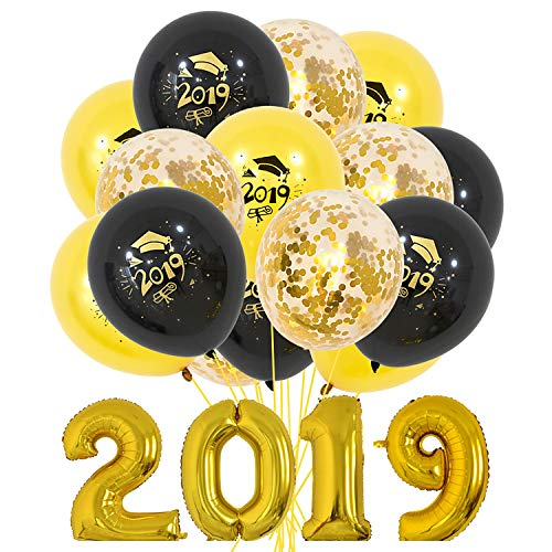 Party Nice 2019 Graduation Party Balloon Combination Package,2019 Foil Mylar Number 32 inch- Graduation Party Supplies 2019 - Graduation Decorations Ballons -