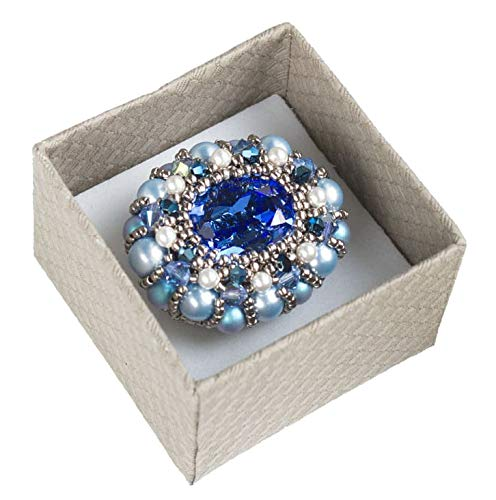 Blue and Silver Beaded Oval Brooch with Swarovski Crystal