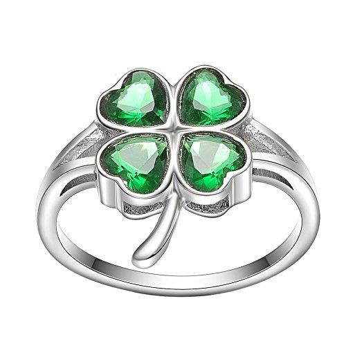 (KIVN Fashion Jewelry Irish Shamrock Four Leaf Clovers Bridal Wedding Engagement Rings for)