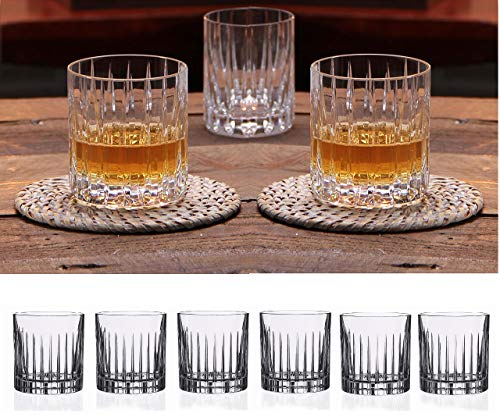 Double Old Fashioned Crystal Glasses, Set of 6, Perfect for serving scotch, whiskey or mixed drinks. (New York) pattern (Old Fashioned Double Collection)