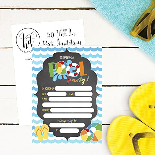 50-Blue-Summer-Swim-Pool-Party-Invitations-for-Children-Kids-Teens-Adults-Summertime-Birthday-Celebration-Invitation-Cards-Boys-Girls-Pool-Party-Supplies-Family-BBQ-Cookout-Fill-In-Invites