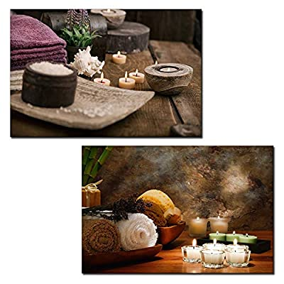 Majestic Object of Art, Made With Love, 2 Panel Spa Still Life with Candles x 2 Panels