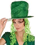 Pack of 6 Green Tinsel Top Hat with Lime Green Curly Wig - Adult Sized