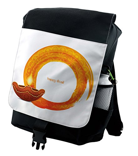 Lunarable Diwali Backpack, Wavy Frame in Warm Colors, Durable All-Purpose Bag by Lunarable