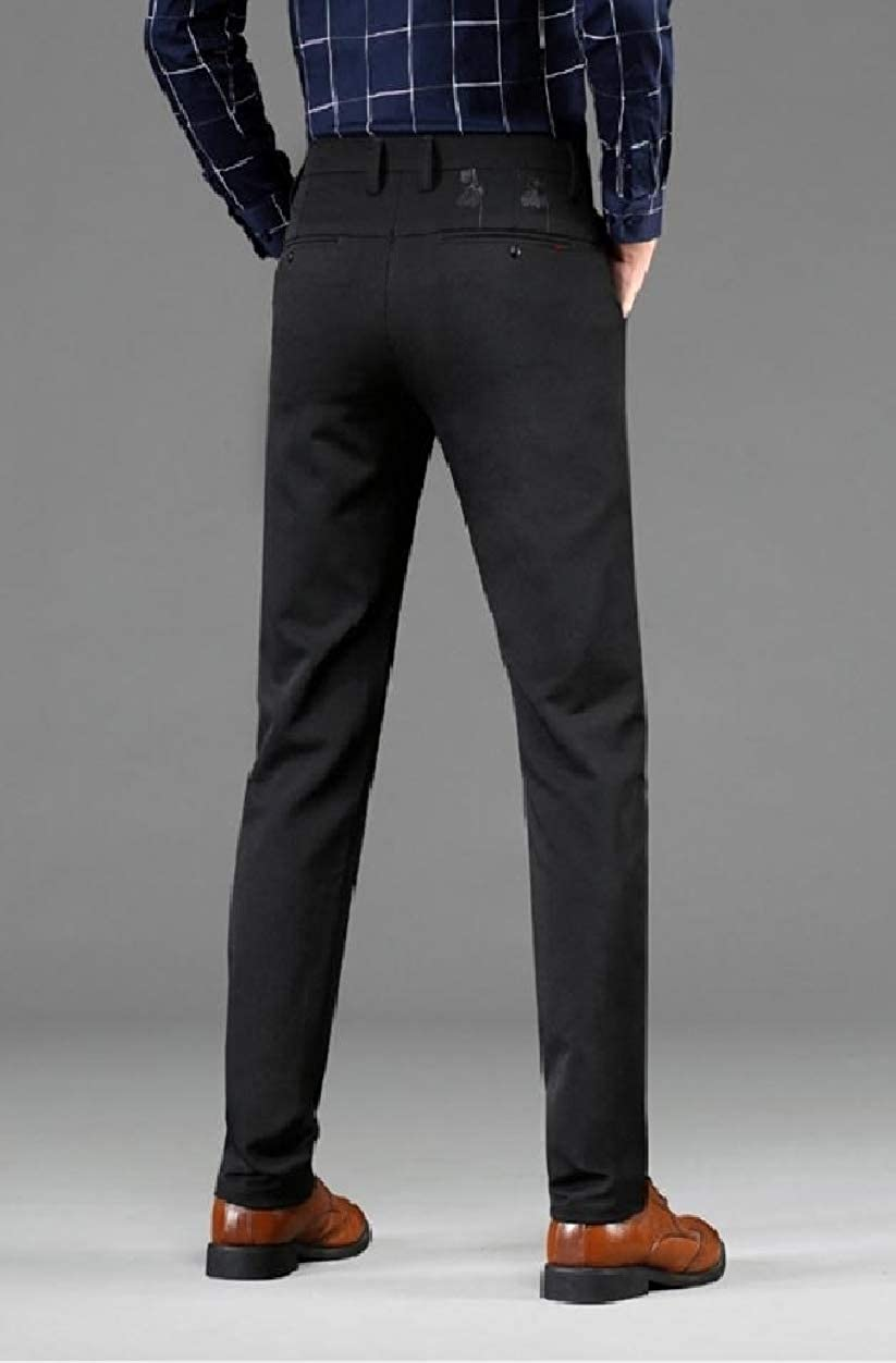 Howme Men Embroidery Wrinkle-Free Stretch Hidden Expandable Waist Pants