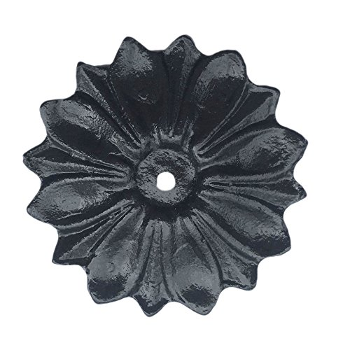 Flower Knob Backplate - Antique Knob Back Plate (5 COLORS) Solid Metal Flower Shaped Decorative for Knobs, Pull (Black)