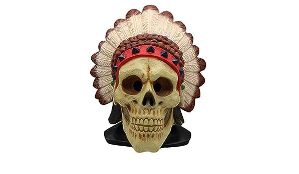 QQWE Indios Plumas Indígenas Africanas Máscara Indígena Halloween Horror Muerte Sombreros De Látex Tricky Scary Cosplay Props,A-OneSize: Amazon.es: Hogar