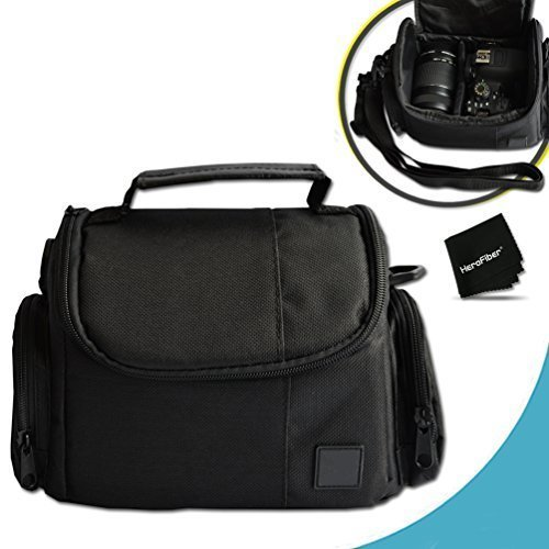 Well Padded Fitted Medium DSLR Camera Case Bag w/ Zippered Pockets and Accessory Compartments for Canon EOS Rebel (Canon T2i Card)