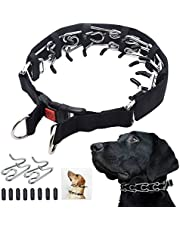 """Dog Prong Training Collar, Dog Choke Pinch Collar with Comfort Tips and Quick Release Snap Buckle for Small Medium Large Dogs (Large,4mm,23.6-Inch,18-22"""" Neck, Black)"""