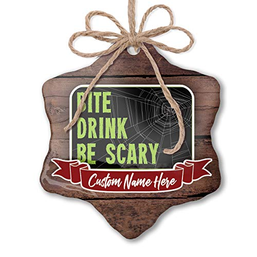 NEONBLOND Custom Family Ornament Bite Drink Be Scary Halloween Creepy Green Spider Web Personalized -