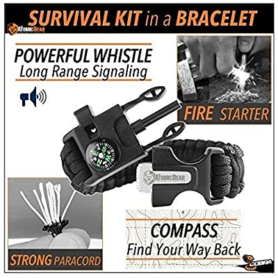 + BIack Friday DeaI + Paracord Bracelet (2 pack) – Adjustable Size – Fire Starter – Loud Whistle – Emergency Knife – Perfect for Hiking, Camping, Fishing and Hunting – Black & Black+Orange