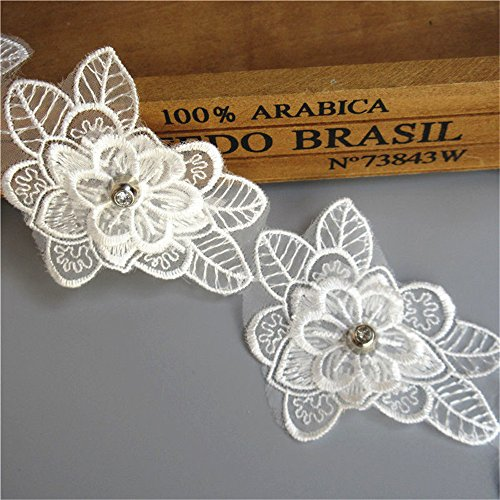 (1M 2-Layer Net Tulle Flower Diamond Lace Edge Trim Ribbon 6 cm Width Vintage Style White Trimmings Fabric Embroidered Applique Sewing Craft Wedding Bridal Dress Embellishment Party Clothes Decor)