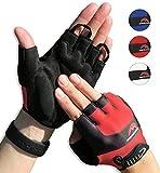 Cycling Gloves Mountain Bike Gloves Road Racing Bicycle Gloves for Biking, Mountain Biking, Riding, Gym, Sports, Foam Padded Breathable Half Finger Gloves, Men Women Work Gloves Red Large