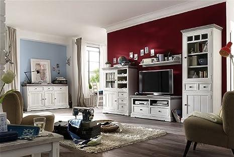 Dreams4Home Wohnwand massiv ' Juno ', in antik weiß , Wohnzimmer ...