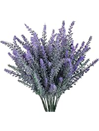 Shop amazon artificial flowers gtidea artificial flowers flocked plastic lavender bundle fake plants wedding bridle bouquet indoor outdoor home kitchen mightylinksfo