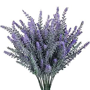 GTIDEA Artificial Flowers Flocked Plastic Lavender Bundle Fake Plants Wedding Bridle Bouquet Indoor Outdoor Home Kitchen Office Table Centerpieces Arrangements Christmas Decor 4pcs 16