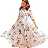 Chicwish Women's White Floral Printed Chiffon Mid-Length Sleeves Slip Maxi Chiffon Dress
