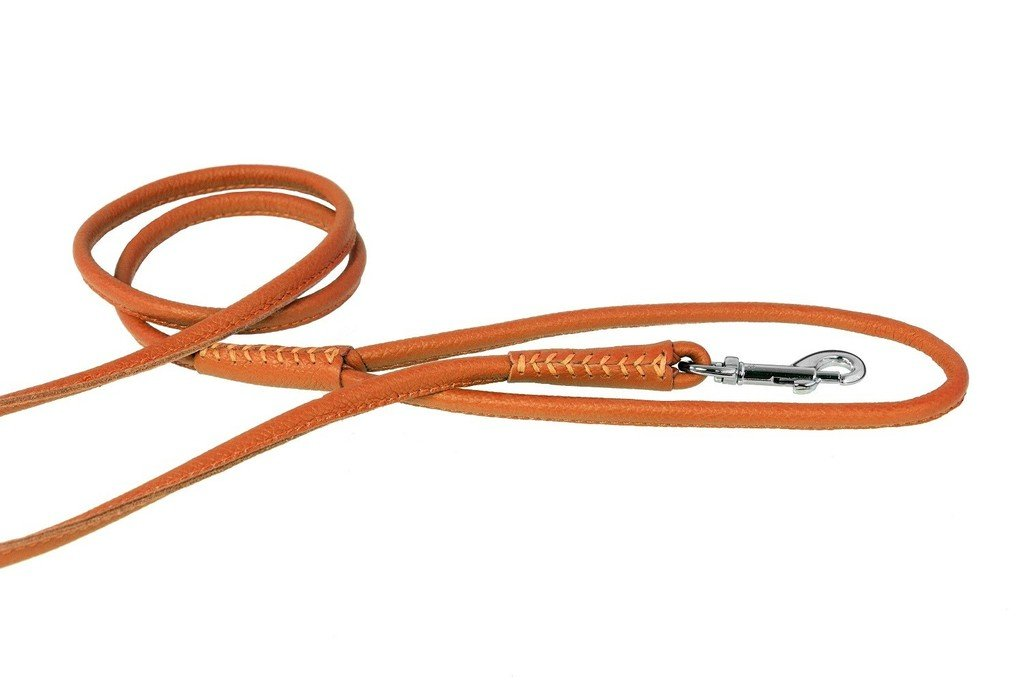 Dogline Soft and Padded Rolled Round Leather Leash for Dogs W3/8'' - L72'', Orange