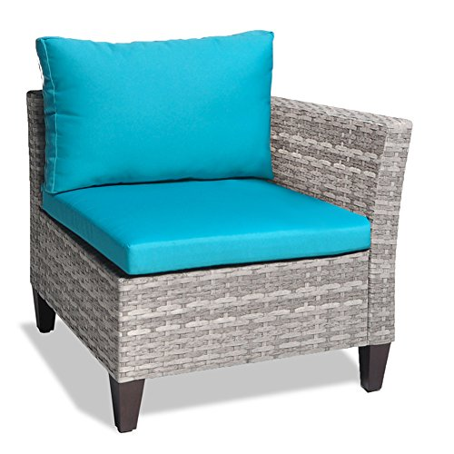 Outdoor Wicker Corner Chair Sofa, Patio Sectional Sofa Set Armless Corner Chair with 3.15'' Thickness Blue Cushions, Aluminum Frame, Long Lasting, UV/Water/Fade Resistant (Blue Corner Chair) - Corner Sectional Chair Frame