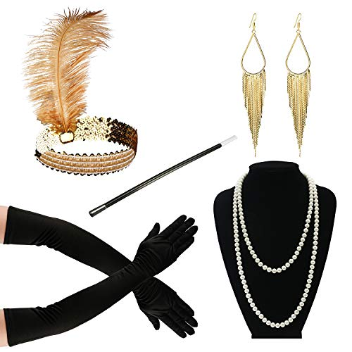 Zivyes 1920s Accessories Flapper Costume for Women Headpiece Cigarette Necklace Gloves (112A) -