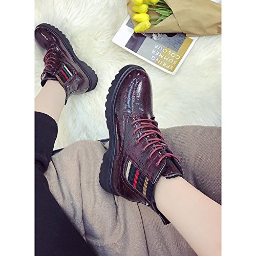 Low Winter ZHZNVX Toe Boots for Boots PU Shoes Burgundy Black Heel Black HSXZ Women's Round Combat Casual gqrwgU8