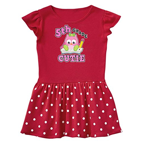inktastic - 5th Grade Cutie with Owl Toddler Dress 3T Red with Polka Dots 2ab6c (5th Grade Owl)