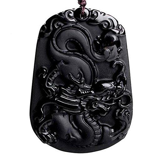 Pure Natural Zodiac Necklace Pendant Made of Obsidian Gemstone Horoscope Animal Sign Amulet -