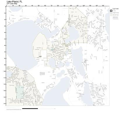 Lake Placid Florida Map.Amazon Com Zip Code Wall Map Of Lake Placid Fl Zip Code Map
