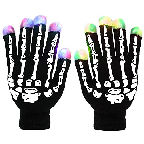 Skeleton Led Gloves, DUZCLI Flashing Finger Light Up Gloves - Kids and Adult Size with Extra Batteries - for Rave, Halloween, Party Light show, Concerts, Disco, Party ,Skeleton,L(Adult-Over 10 Year old) -
