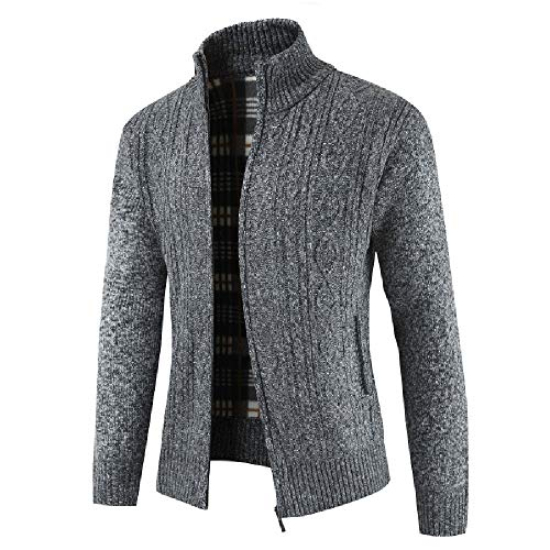 Allywit Men's Classic Long Sleeve Full Zip up Plus Knitted Fleece Cardigan Sweaters Big and Tall by Allywit (Image #1)