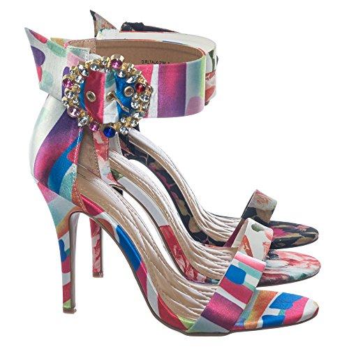 Anne Michelle Abito Raso Colorato Tacco Alto Sandalo Con Strass Cristallo Fibbia Arcobaleno Multi