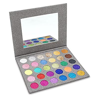 MISKOS Pressed Glitter Eyeshadow Palette 30 Colors Pigmented Mineral Foiled Long-Lating Shimmer Powder Eye Shadow Pallet Waterproof Makeup Kit 1.06 OZ