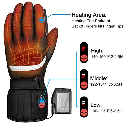 Professional Heated Motorcycle Gloves,Electric Rechargable Battery Gloves for Men Women,Winter Waterproof Riding Ski Bicycle Cycling Hunting Fishing Snowboarding Gloves Hand Warmer Arthritis