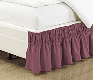 wrap around 21 inch long fall purple ruffled elastic solid bed skirt fits all twin. Black Bedroom Furniture Sets. Home Design Ideas
